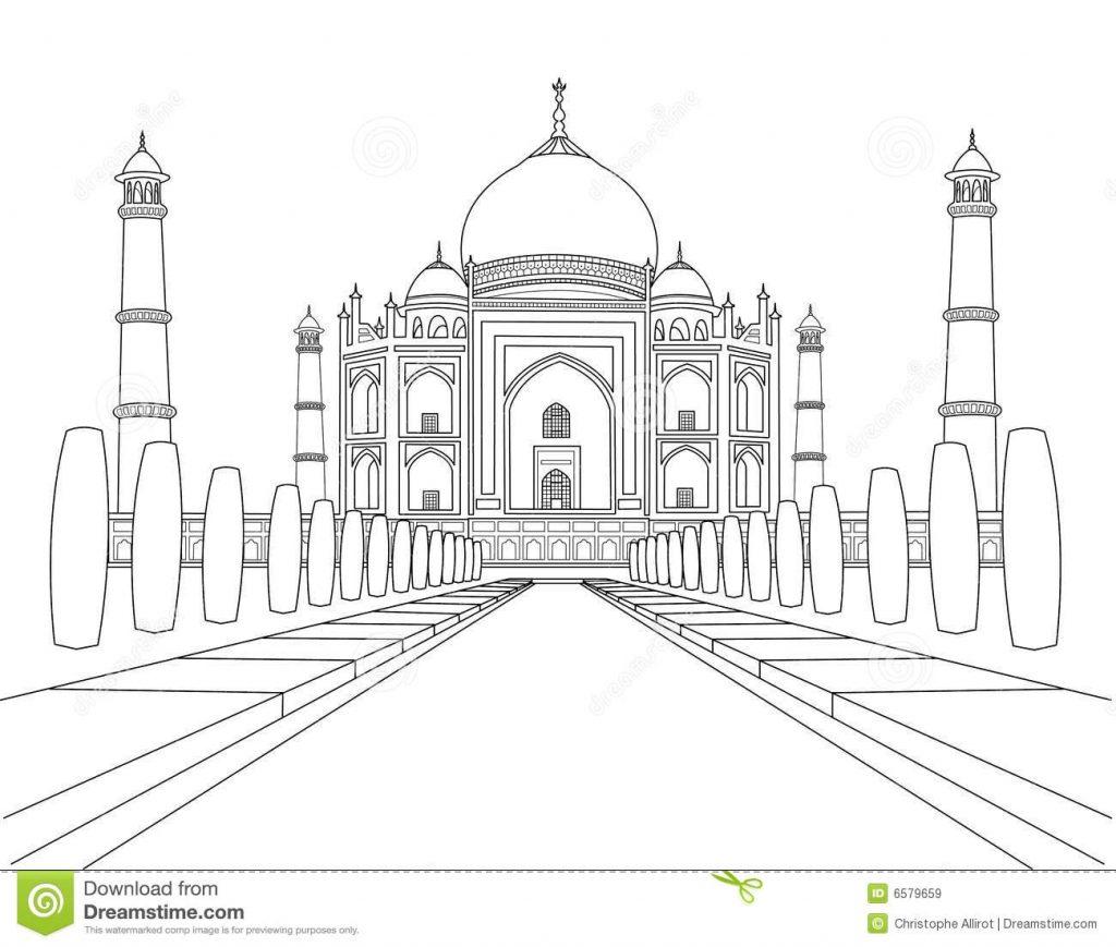 Gambar Mewarna Bangunan Taj Mahal