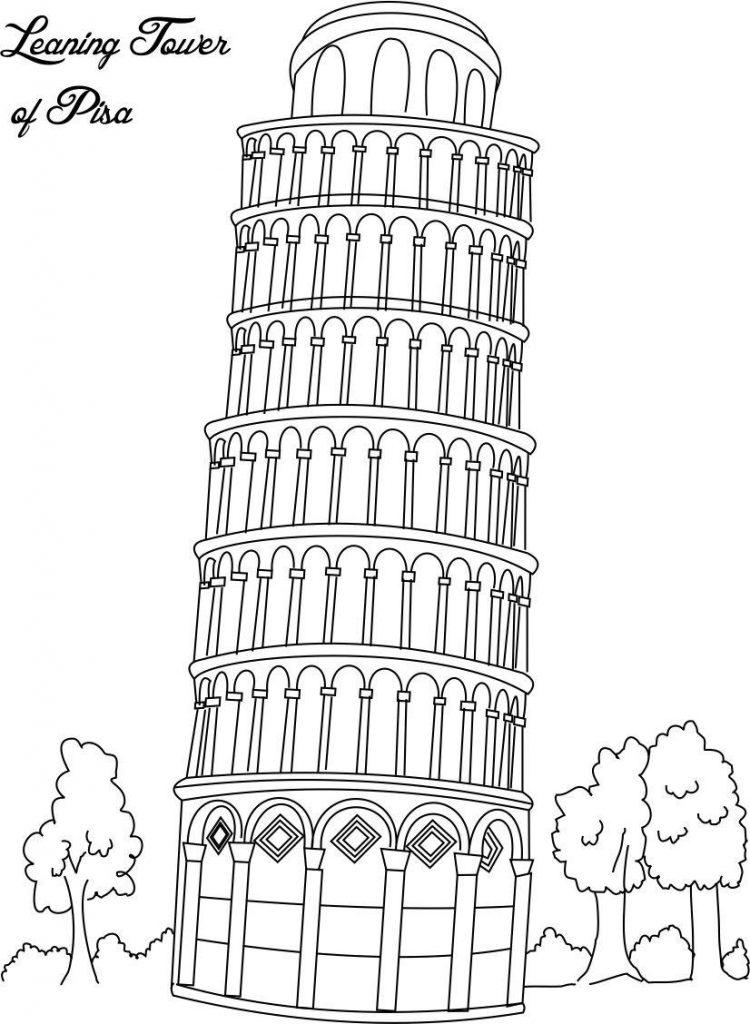 Gambar Mewarna Menara Contoh Pisa