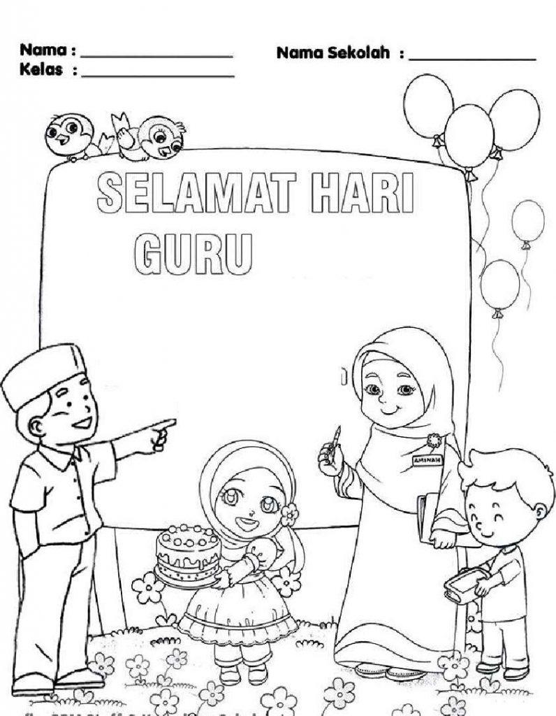 Gambar mewarna Selamat Hari guru