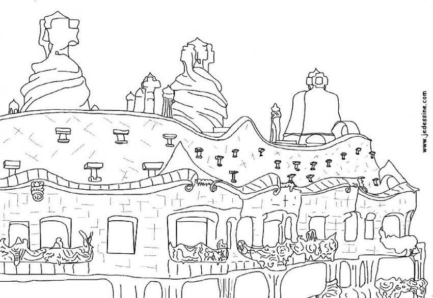 Gambar Mewarna Bangunan casa mila - la pedrera
