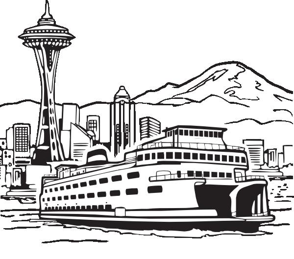 Gambar Mewarna Bangunan Seattle Space Needle