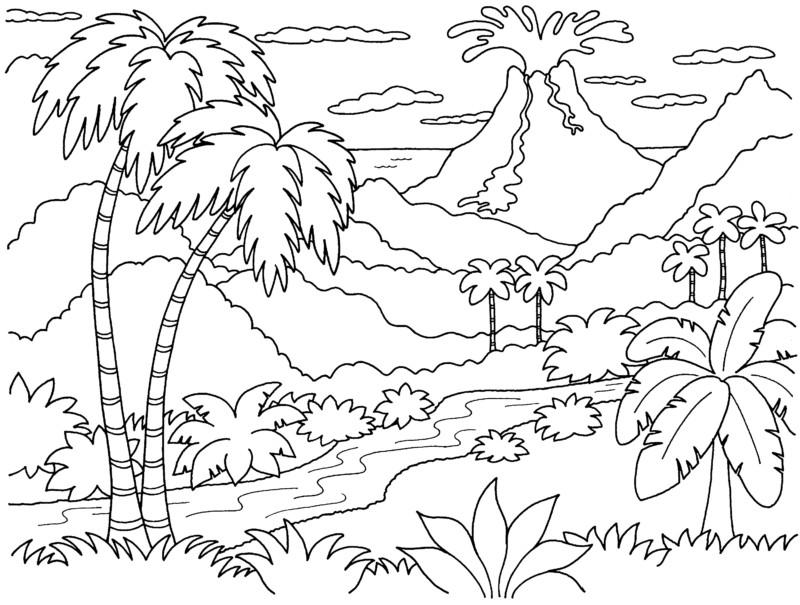 gambar mewarna pemandangan gunung berapi
