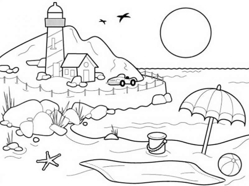 Gambar Mewarna Pemandangan Tepi Pantai dan Rumah Api