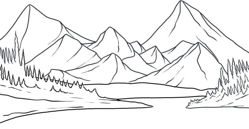 Gambar Mewarna Pemandangan Gunung dan Tasik