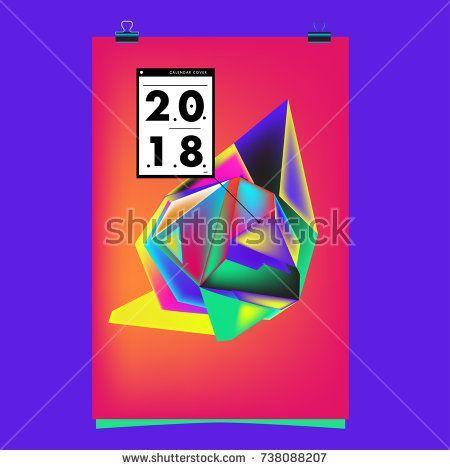 Background Poster Design Menarik Abstract Colorful Geometric Calendar Cover Design Template Trendy