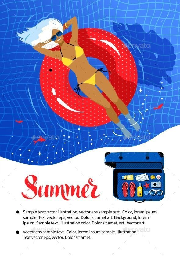 Background Poster Design Terhebat Flyer Design with Woman On Rubber Ring Summervacationillustration