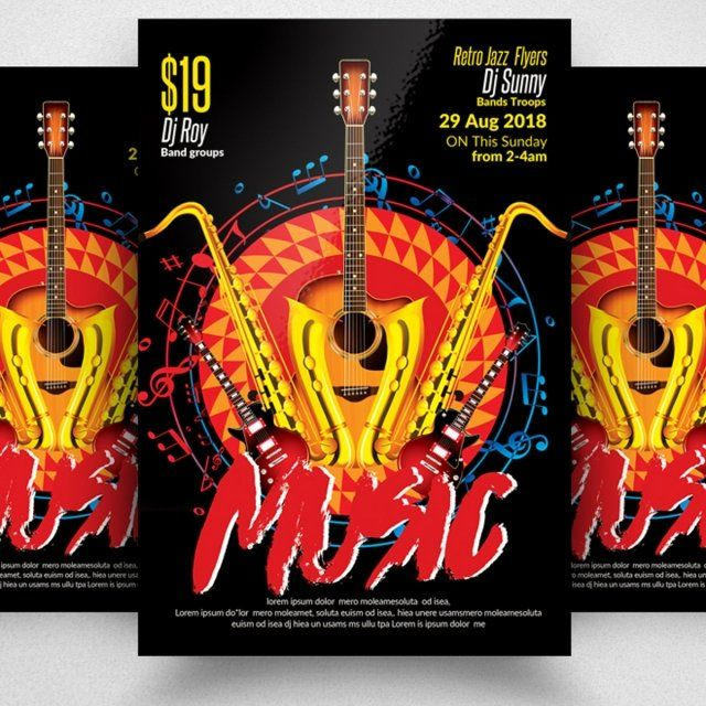 awesome jazz music flyer template template for free download on tree music concert poster template