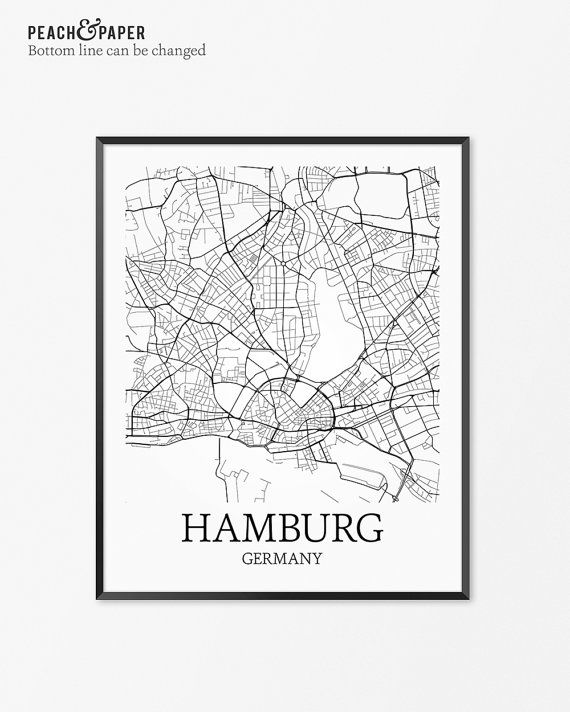 Frame Poster Bernilai Hamburg Map Print Customize the Bottom Line Text See Examples