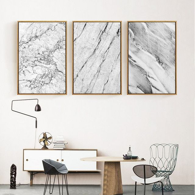 Frame Poster Penting Abstract Grey Marble Canvas Paintings nordic Posters and Prints Pop