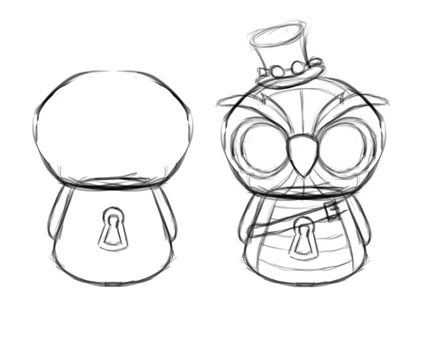 burung hantu ini akan dilengkapi dengan topi kacamata steampunk lubang kunci dan sabuk pastikan semua detail detail tambahan ini dimasukkan dalam sketsa