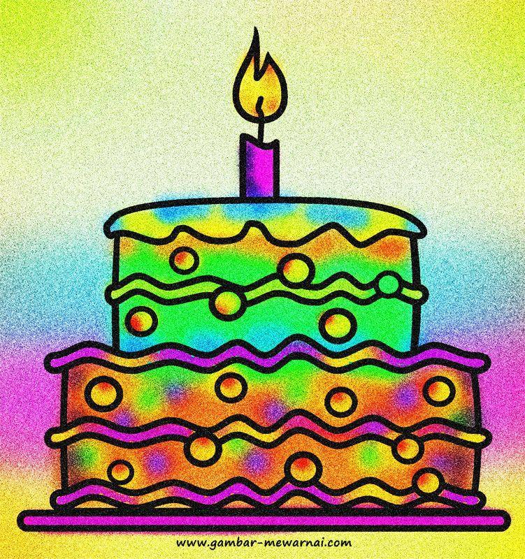 contoh mewarnai kue ulang tahun www gambar mewarnai com