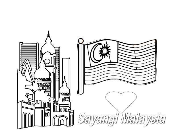 Lukisan Gambar Bendera Malaysia Hitam Putih Cikimm Com