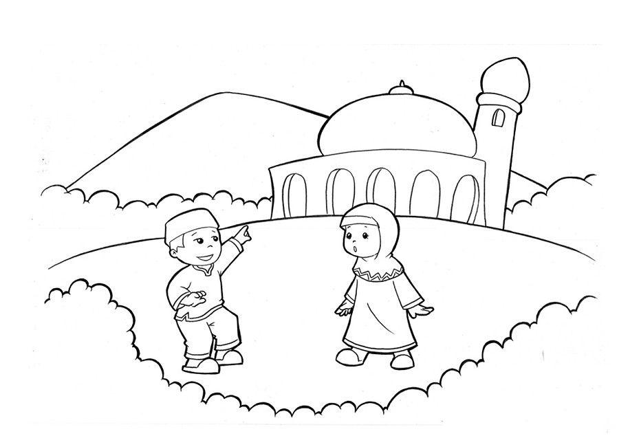 gambar mewarnai kartun muslim terbaru