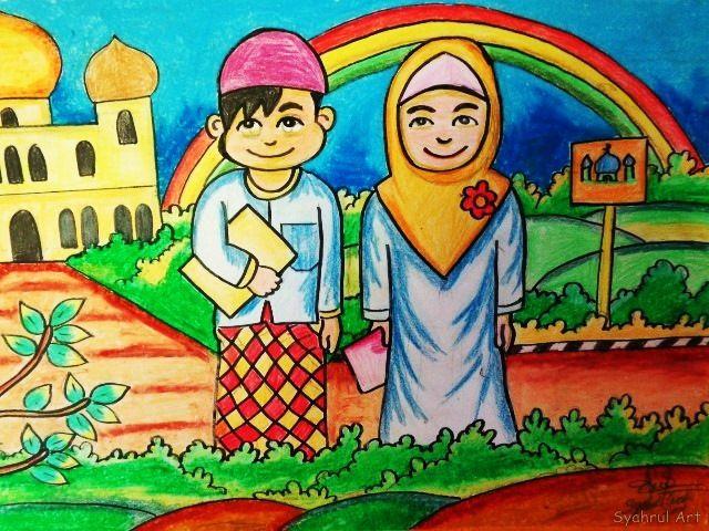 Gambar Mewarna Anak Muslim Power Lukisan Dari Crayon atau Pastel April 2016