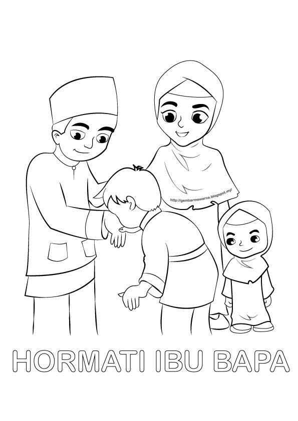 poster mewarna hormati ibu bapa