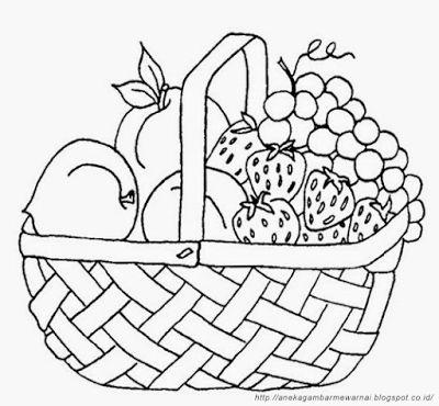 aneka gambar mewarnai gambar mewarnai buah buahan dalam keranjang untuk anak paud dan tk pelaja
