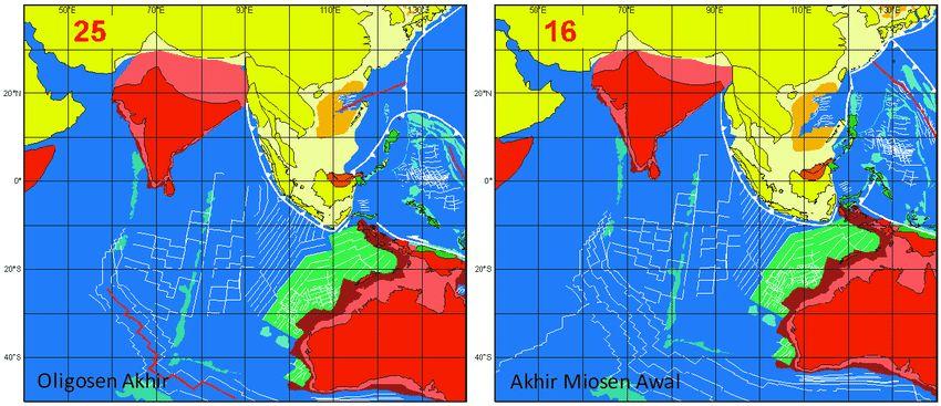 gambar 4 4 tatanan lempeng tektonik di oligosen akhir kiri dan akhir miosen
