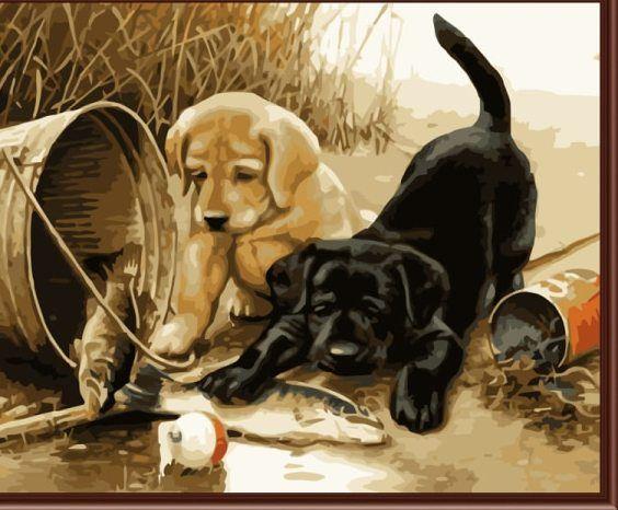 tanpa bingkai gambar di dinding akrilik lukisan dengan angka gambar abstrak dengan angka hadiah unik mewarnai dengan angka dua lucu anjing