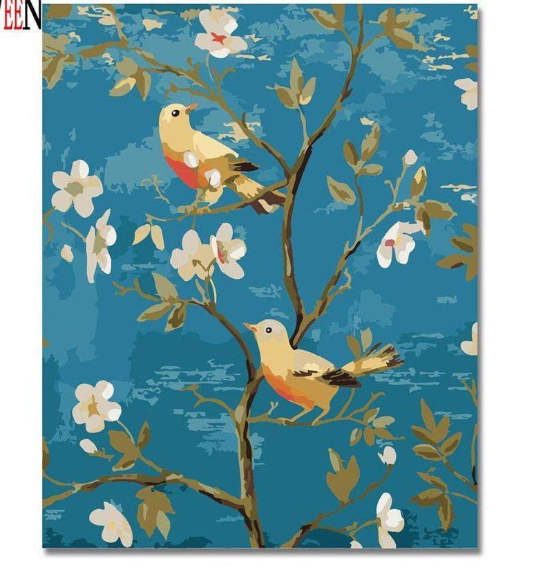 magpie bunga gambar dengan angka diy tangan dicat hewan ween paitning minyak kanvas cuadros decoracion mewarnai untuk ruang tamu