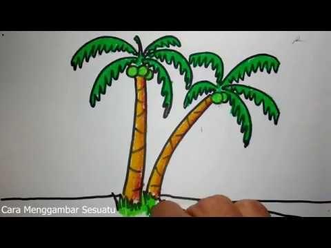 Gambar Mewarna Pemandangan Di Dasar Laut Hebat Cara Menggambar Pohon Kelapa Youtube