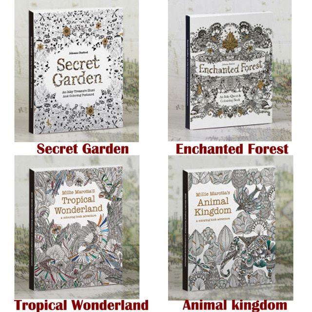 4 gambar album 1 set dalam bahasa inggris secret taman gel mewarnai buku warna pensil lukisan