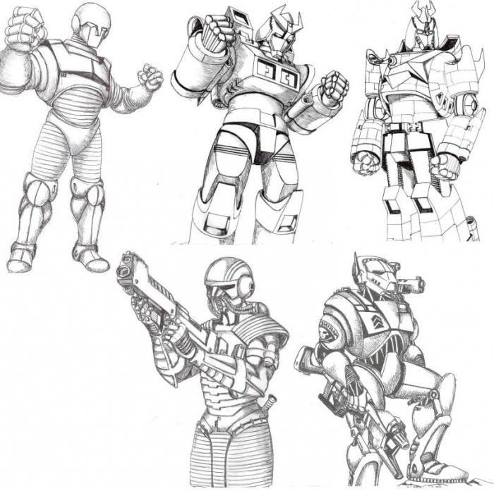 setelah melakukan pekerjaan ini anda bisa melanjutkan ke gambar utama jadi mari kita bicarakan secara lebih rinci tentang cara menggambar robot