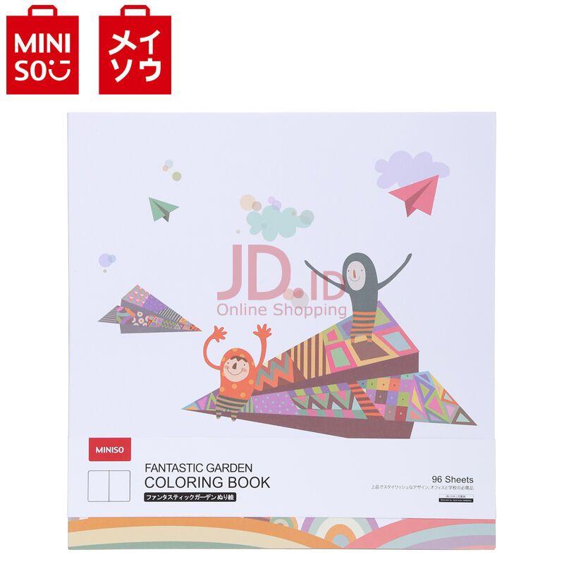 jual miniso official buku mewarnai gambar coloring book cover pesawat white miniso indonesia