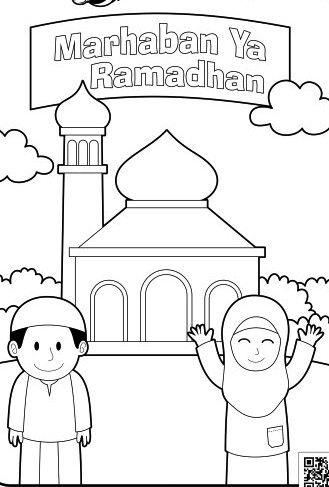 selamat hari raya contoh gambar mewarnai tema ramadhan