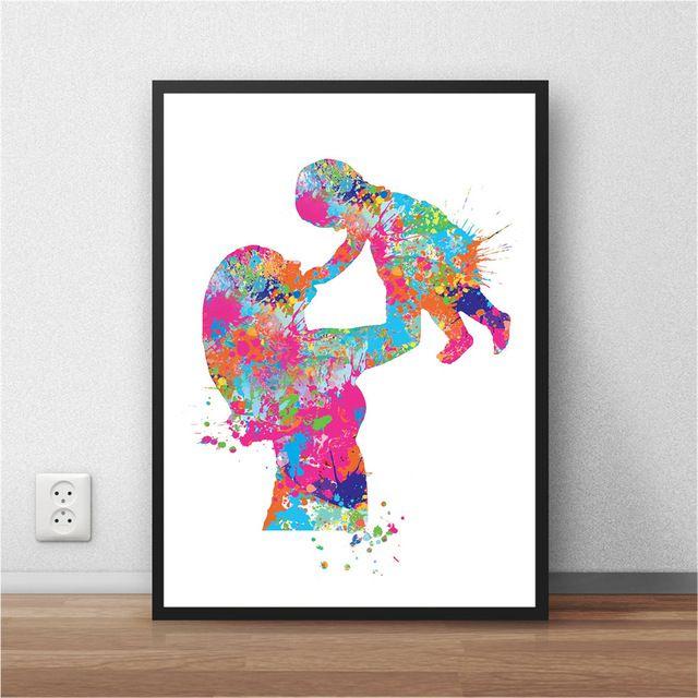 ibu bayi cat air kertas poster lukisan abstrak modern gambar cetak poster wall art poster wall
