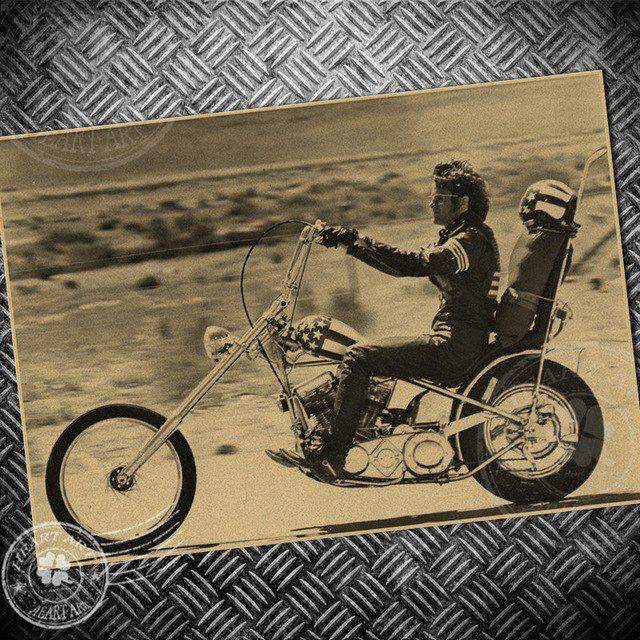Imej Kertas Lukisan Penting Vintage Sepeda Motor Naik Man Kertas Poster Retro Lukisan Inti