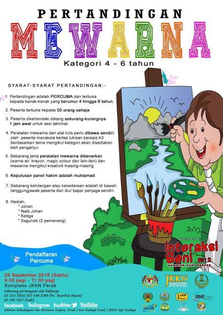 Kertas Lukisan Kertas Mewarna Kanak-kanak Berguna Jabatan Kebudayaan Dan Kesenian Negara Perak Pertandingan Mewarna