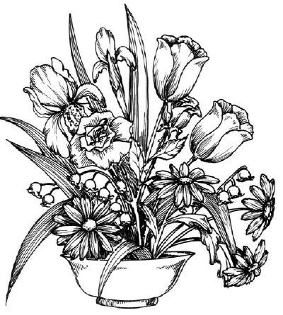 sejambak bunga mewarna bidang 1