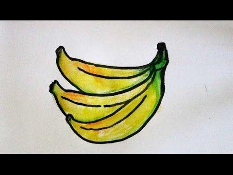 Kertas Lukisan Mewarna Kertas Lukisan Buah-buahan Baik Cara Menggambar Buah Pisang Youtube