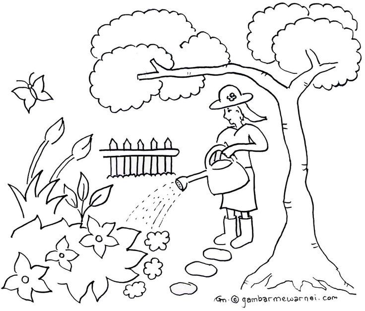 Kertas Lukisan Mewarna Pemandangan Penting Mewarnai Taman Bunga Iman Pinterest Education Places to Visit