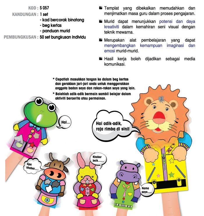 Kertas Mewarna Merdeka Berguna Seni Kraf Boneka Tangan Siri Binatang Pascal Marketing Sdn Bhd