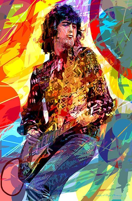 jimmy page led s lead pop art acrylic on plexi painting by david lloyd glover