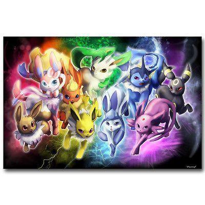 eevee pokemon pocket monster anime art silk poster 12x18 24x36 inch in art art from dealers resellers posters ebay