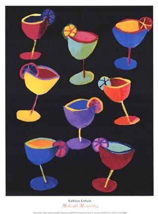 Poster Food Terbaik Midnight Margaritas Poster Print by Kathryn fortson Food Art Alcohol