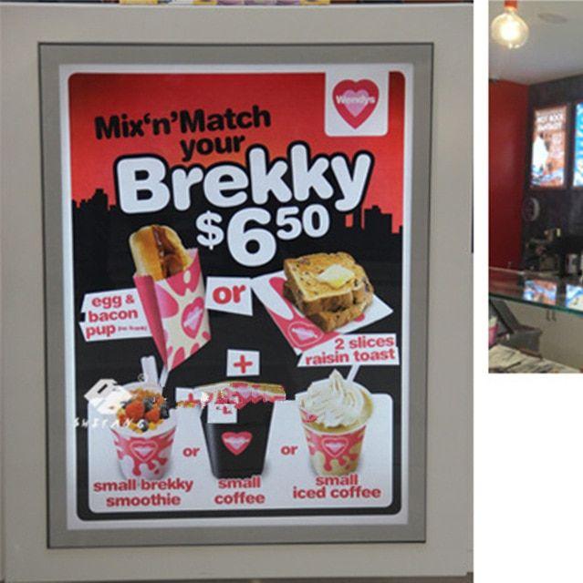 gratis pengiriman 4 pcs magnetic slim dipimpin menu papan a1 poster frame display makanan cepat saji