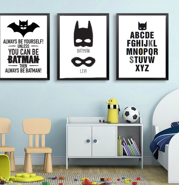 Poster Mewarna Gambar Ikan Berguna A Super Hero Batman Masker Cetak Kanvas Seni Dinding Kanvas Nursery