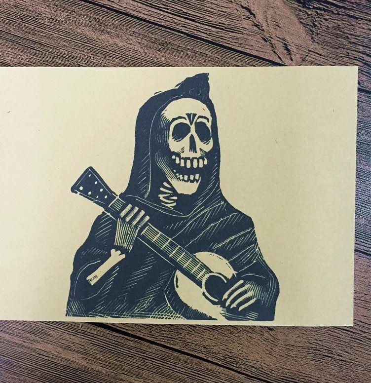 hot sale klt 113 vintage kraft kertas skeleton penyanyi gambar untuk dinding poster dekorasi rumah cafe bar dekoratif lukisan 42x30 cm