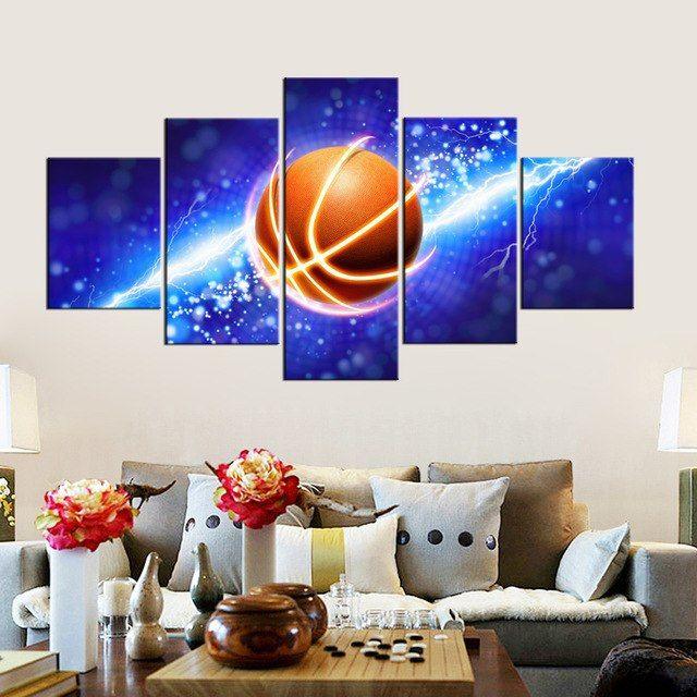 Poster Mewarna Gambar Ikan Terbaik 2 Desain Keren Petir Basketball Poster Mencetak Art Biru Lukisan