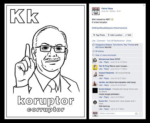 Poster Mewarna Huruf Abc Hebat Pozible Abcpolitikusmalaysia Coloring Book by Fahmi Reza