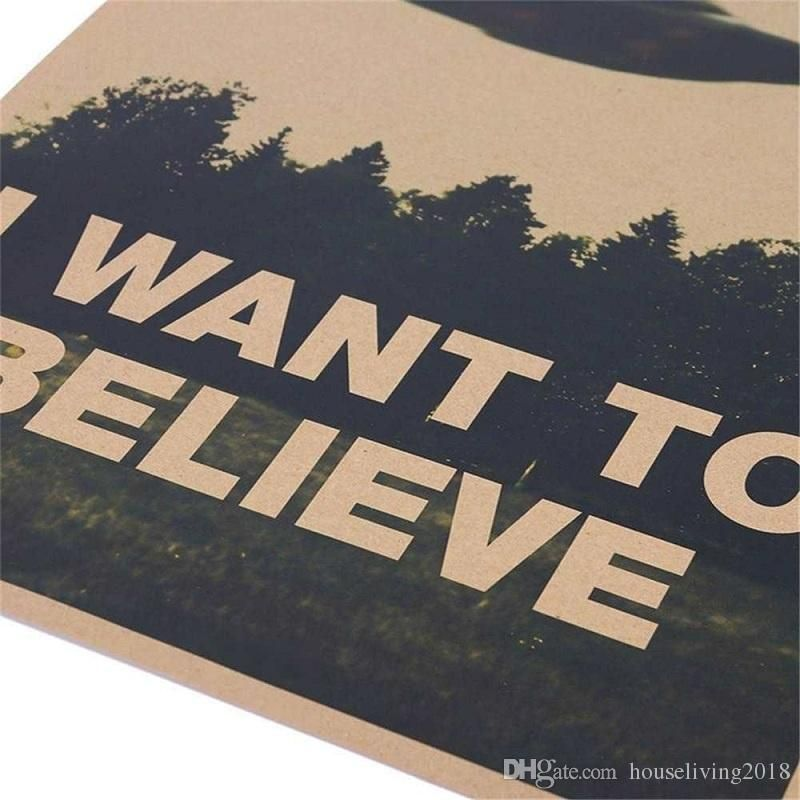 retro classic movie poster i want to believe home decor kraft paper bar coffee