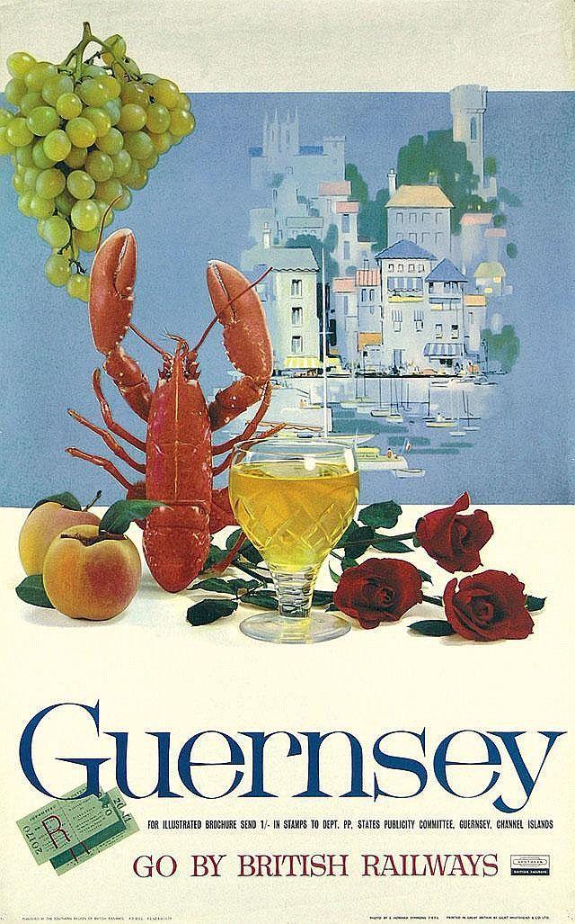 Poster Travel Bernilai Vintage Railway Travel Poster Guernsey England 1958