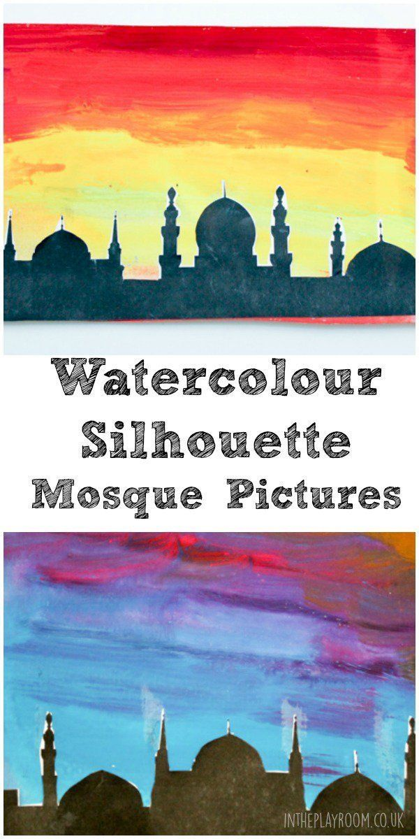 using watercolours is a really fun way to make a striking and effective background for any silhouette picture by adding the black silhouette at the front