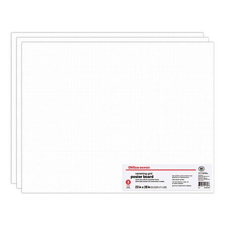 Saiz Poster Penting Office Depot Brand Grid Board Poster Boards 22 X 28 White Pack Of 3