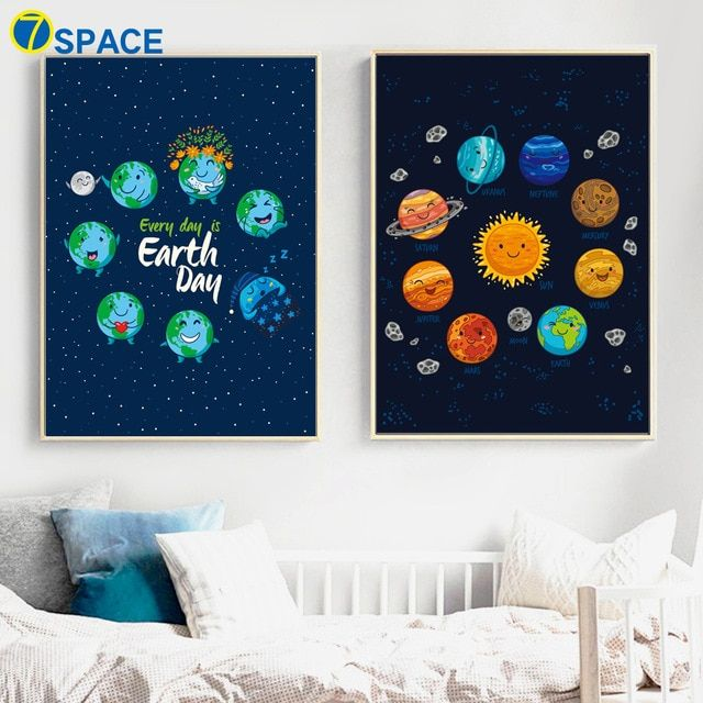 Save Earth Poster Berguna Cartoon Earth Sun Planet nordic Posters and Prints Canvas Painting