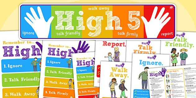 Stop Bullying Poster Bermanfaat High Five How to Deal with Bullying Pack Packs Bully Dealing