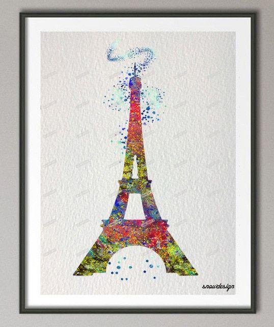 Tujuan Poster Hebat Cat Air asli Menara Eiffel Kanvas Lukisan Mordern Dinding Art Poster